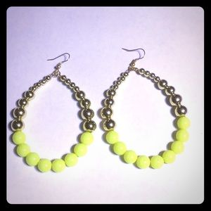 Oversized neon yellow hoop bead earrings